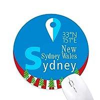 シドニー地理座標 円形滑りゴムのマウスパッドクリスマス飾り