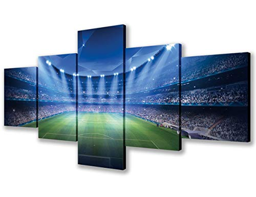 Paintings for Bedroom Wall Art Sky Blue Sports Football Field Pictures American Football Prints on Canvas 5 Pieces Home Decor Modern Artwork for Living Room Framed Stretched Ready to Hang(50''Wx24''H)