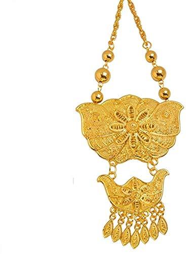 LKLFC Collar Mujer Collar Hombre Collar 66Cm Collares para Mujeres niñas Novia Africana Joyería de Boda Oriente Medio Joyería árabe Regalo de Fiesta Collar Colgante Niñas Niños Regalo