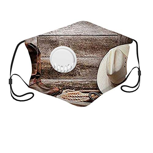 Western, Authentic American Rodeo Items Lasso Hat Boots Horseshoe Rustic Wooden House,Brown Cream Tan Face Mask Reusable Washable Masks Cloth for Teens and Kids(7-12Y)
