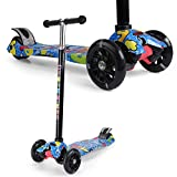 URBAN KINGS Kick Scooter for Kids, 4 Adjustable Height, Lean to Steer