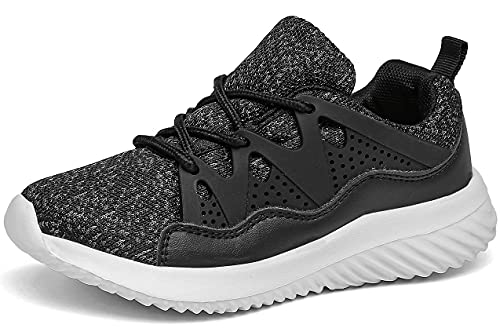 ChayChax Ligeras Zapatillas de Deporte Niños Niñas Cordones Zapatos de Correr Running Antideslizante Sneakers al Aire Libre,Negro,27 EU