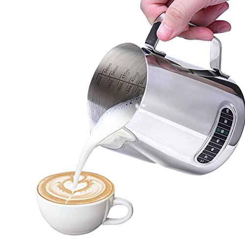 RUN ANT Milchkännchen 600ml/20 fl.oz. Milchkanne aus Edelstahl mit Thermometer für Cappuccino und Latté, Silber (11 × 9.3CM)