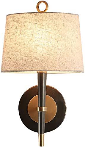 Luces de pared industriales, Luz de la pared del metal blanco tela de la lámpara del estilo de American Brass Shade arriba abajo de Iluminación en la alcoba lámpara de cabecera apliques de pared luces