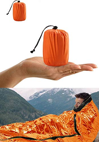 Shayson Survival Sleeping Bag, Emergency Bivvy Bag PE Aluminum Film for Outdoor Camping and Hiking