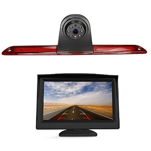 HD 720p Cámara marcha atrás incluida en el cable de la luz 10m tercer freno + Monitor 5.0 Pulgadas Cámara de Visión Trasera para Transporter Mercedes Benz W906 Sprinter 1500 2500 VW Crafter
