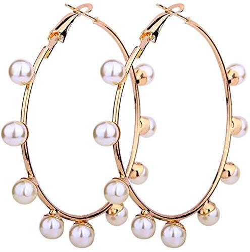 QIN Pendientes de aro de Perlas Grandes Pendientes Colgantes de Perlas Blancas y Negras de imitación Pendientes de Lazo de círculo Redondo Grande para Mujeres y niñas