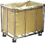 Carrito Auxiliar Carritos de lavandería, compras, carro de lavandería, de acero inoxidable de cuatro ruedas de la carretilla, for trabajo pesado cesta de lavadero Clasificación de producto, beige, azu