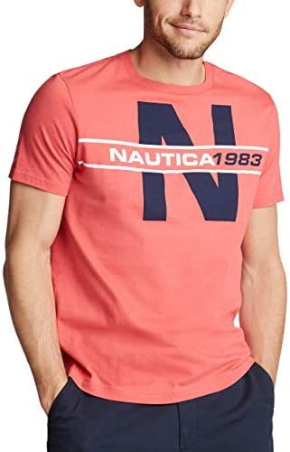 Nautica Men s Short Sleeve 100 Cotton Classic Logo Series Graphic Tee Shirt Sailor Red XX Large product image