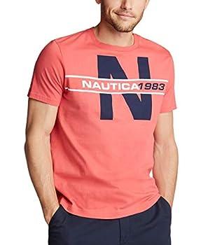 Nautica Men s Short Sleeve 100% Cotton Classic Logo-Series Graphic-Tee Sailor Red XX-Large