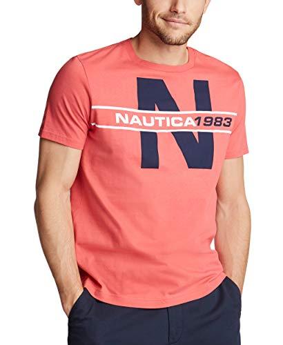 Nautica Men's Short Sleeve 100% Cotton Classic Logo Series Graphic Tee Shirt, Sailor Red, X-Large
