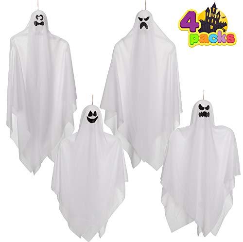 Fantasmas Colgantes de Halloween (4 Packs) Dos de 90 cm y Dos de 70 cm para Decoración de Fiesta de Halloween, Lindo Fantasma Volador