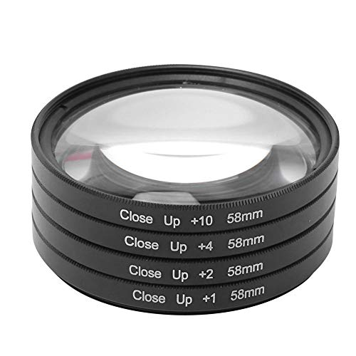 Entatial Kit Filtro Macro Vetro Ottico Professionale Macro Close Up +1 +2 +4 +10 Kit Filtro Obiettivo 58 mm con Scatola per Canon/per Nikon/per Fotocamere Sony