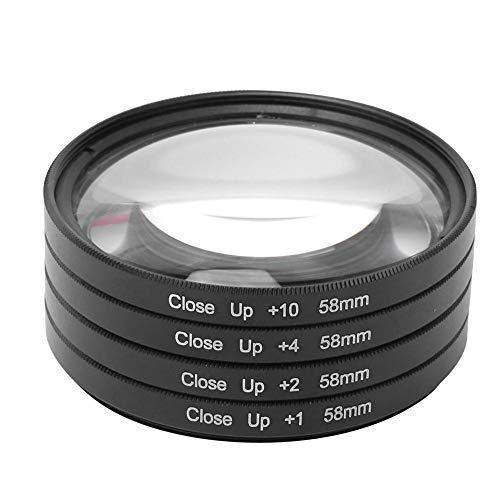 Vbestlife 4 Pack Macro Filter Kit, 58mm Optical Glass Macro Close Up +1 +2 +4 +10 Camera Lens Filter Kit voor Canon/Nikon/Sony Camera's, met Opbergdoos