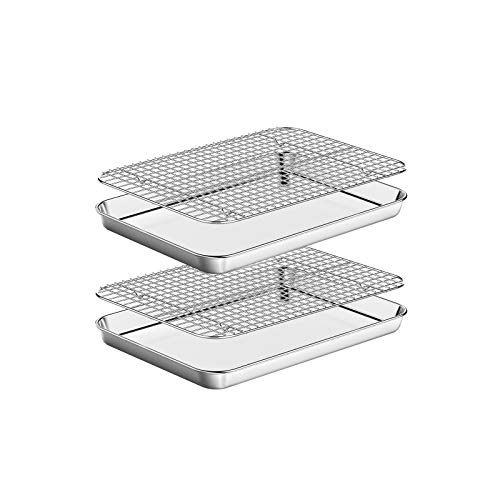 Baking Sheet with Rack Set [2 Pans + 2 Racks ] HKJ Chef Stainless Steel Cookie Sheet Baking Pan Tray with Cooling Rack, Size 9 x 7 x 1 Inch, Non Toxic & Heavy Duty & Easy Clean
