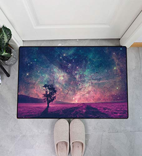 Yahonwa Space Decor Indoor Entrance Doormat, Red Alien Landscape with Alone Tree Silhouette in Purple Field Photo Absorbent Low-Profile Rug Doormat for Entry, 16' x 24'