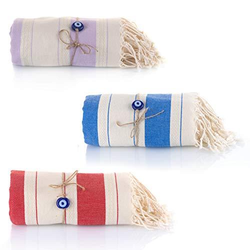 Juego de 3 toallas de hammam turcas Con el Mal de Ojo Pestemal 100% algodón de secado rápido, para el Baño, el Gimnasio y la Playa, 90*190cm, 435 gr, Fouta para viajar, Spa, Picnic (Azul/Lila/Rojo)