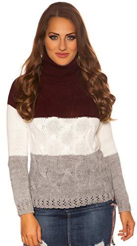 Firstclass Trendstore Rollkragenpullover mit Zopfmuster Gr. 34 36 38, Pullover Damen Rollkragen (PU112 Bordeaux 900992)