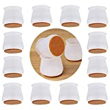 Chair Leg Caps with Felt Bottom,24pcs Round&Square Silicone Chair Leg Covers Free Moving Table Leg Covers Elastic Furniture Silicone Protection Cover to Prevent Scratches and Reduce Noise