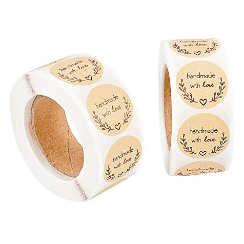 CHGCRAFT 2 Rolls Homemade with Love Stickers 1inch Kraft Paper Gift Tag Stickers 500pcs Adhesive Labels Per Roll