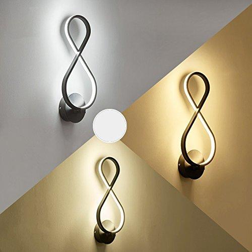 Creative Led moderne minimaliste mur de chevet chambre à coucher Lampe lumière lampe escalier Couloir Couloir Art,Black 39 * 17cm,18 Watts éclairage réglable 3-couleurs