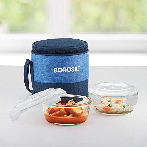 Borosil Prime Glass Lunch Box Set of 2, 400 ml, Round, Microwave Safe Office Tiffin