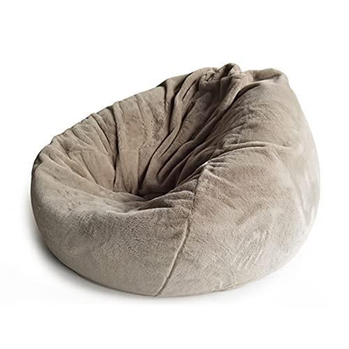 AMGJ Funda para Sillón Puff Grande(sin Relleno), Fundas de Bean Bag de Tela de Piel de Conejo Artificial Funda de Puf para Adultos y Nios, 100x120cm,Light Coffee