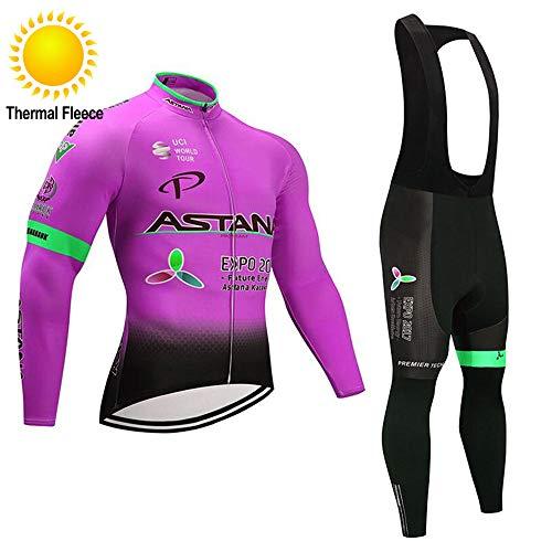 TOPBIKEB Fietsen Kleding Suit Mens Winter, Lange Mouwen Fietspak van Thermal Fleece met Gewatteerde Bib Shorts voor Fiets Racing