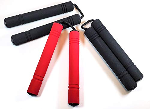 Set of 3 Foam Nunchucks for Kids,(1) Red and (2) Black. Fun Ninja Toy for Boys and Girls, Pretend Nunchucks with Soft Handles. Great for Ninja Costume Props and Party Favors.