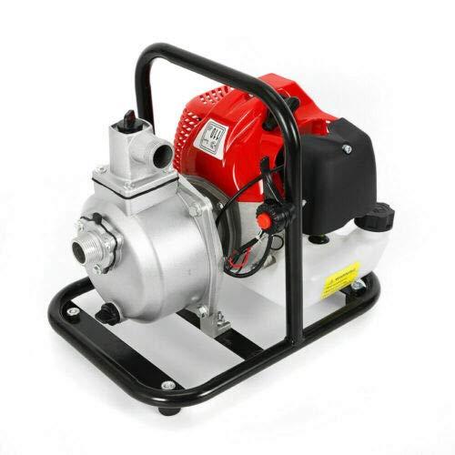 Benzin-Wasserpumpe 43 cc 1,7 hp 2-Takt (1.25 kW, max. 8,000 L/h Fördermenge, max. 30 m Förderhöhe,inkl. Schlauchadapter), Hochleistungs- & Tragbare