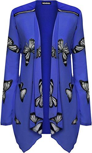 WearAll vrouwen Plus lange mouw chiffon vlinder print pure vest Top 14-28