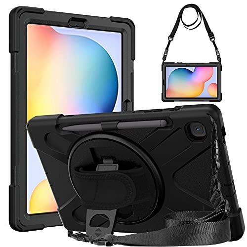 Gerutek Funda Anticaída para Samsung Galaxy Tab S6 Lite 10.4' (SM-P610/SM-P615), Carcasa Rugosa con Soporte Rotación, Correa de Mano/Hombro, Funda Antichoque para Samsung Tab S6 Lite 10.4', Negro