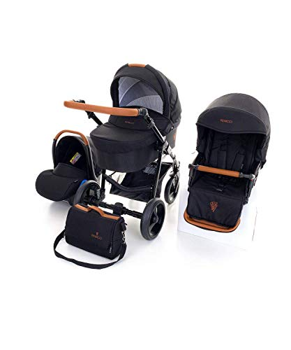 Venicci Gusto 2.0 3-in-1 Travel System (10 Piece Bundle) - Noir - with Carrycot + Car Seat + Changing Bag + Footmuff + Raincover + Mosquito Net + 5-Point Harness + Car Seat Adapters