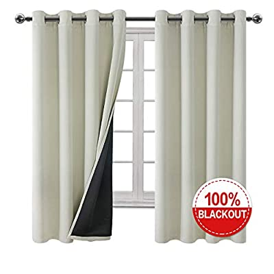Hiasan Double Layer 100% Blackout Curtains for Bedroom - Full Sun Blocking Thermal Insulated and Noise Reducing Thick Window Curtains for Living Room, 52 x 72 Inches Long, 2 Panels
