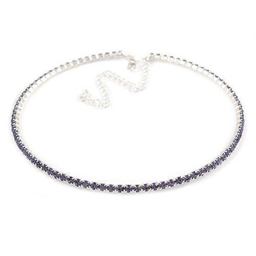 Thin Light Amethyst/Purple Top Grade Austrian Crystal Choker Necklace in Rhodium Plated Metal - 36cm L/ 10cm Ext