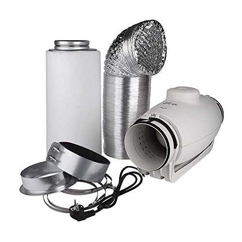 GIB PrimaKlima Ensemble de ventilation avec filtre à charbon actif S & P Silent Tube Ventilateur 280/380 m³/h Growbox Kit d'pour Grow Box/Home Box – Particulièrement Silencieux