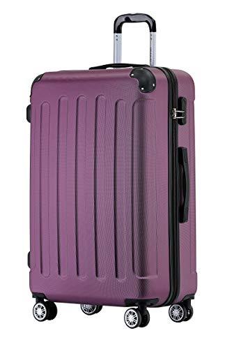 BEIBYE Hartschalen-Koffer Trolley Rollkoffer Reisekoffer Handgepäck 4 Rollen (M-L-XL-Set) (Violett, L)