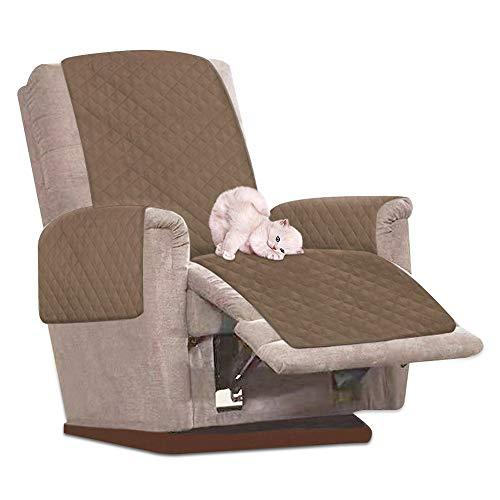 Ghopy Fodera per poltrona relax reclinabile impermeabile, copertura universale per divano da 1 posto, antimacchia e antigraffio (marrone)