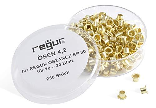 REGUR Ösen 4,2mm für EP 30 Stanz- und Ösenzange, 250 Stück für 10 - 20 Blatt für Verträge, zum Präsentieren, Reparieren, Basteln, Verzieren.