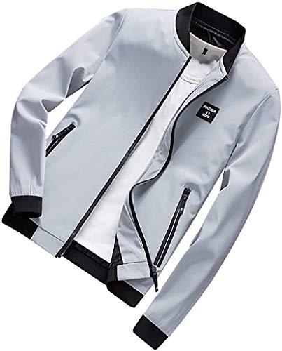 Casual Men's Casual Slim Lightweight Softshell Zipper Windbreakers Bomber Jacket Full Zipper Coat Outerwear