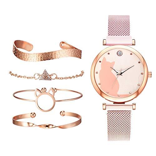 gazechimp 5 Unidades/Conjunto de Relógios Femininos Pulseira de Ouro Rosa Conjunto de Relógios de Pulso com Padrão de Gato - Rosa
