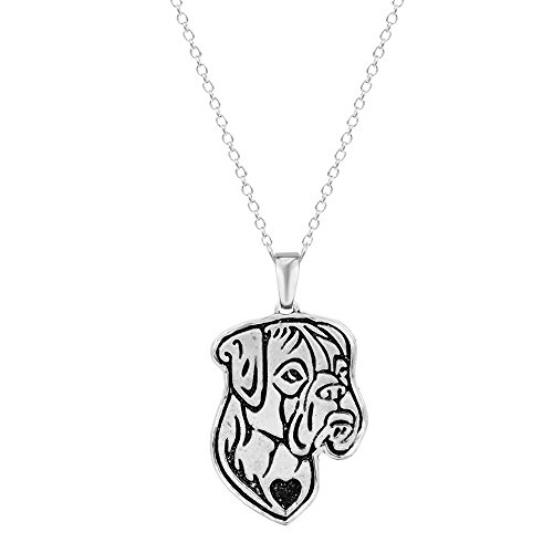 Pashal Boxer Dog Etched Silver Chain Pendant Dog Necklace Dog De Bordeaux, Boxer, Bulldog