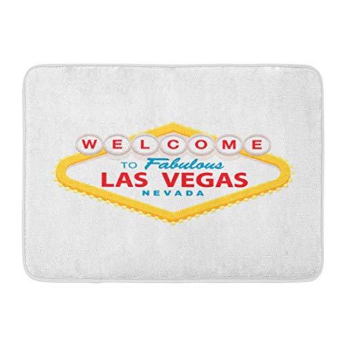 Paillassons Tapis de Bain Tapis de Porte Extérieur/Intérieur Fabuleux Classique Rétro Bienvenue à Las Vegas Signe Simple Moderne Plat Casino Bande de Salle de Bain Décor Tapis de Bain