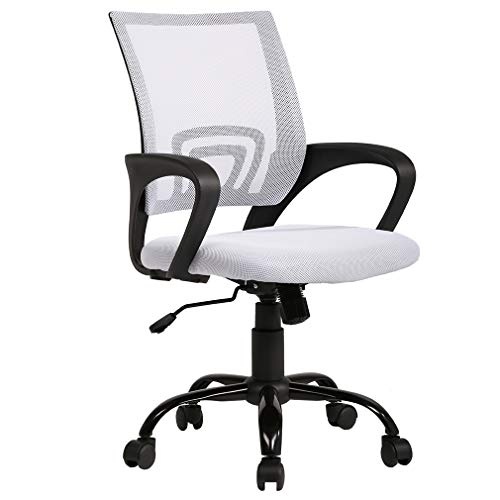 Ergonomic Office Chair Mesh Cheap Desk Chair Task Computer Chair Lumbar Support Modern Executive Adjustable Rolling Swivel Chair for Back Pain, White