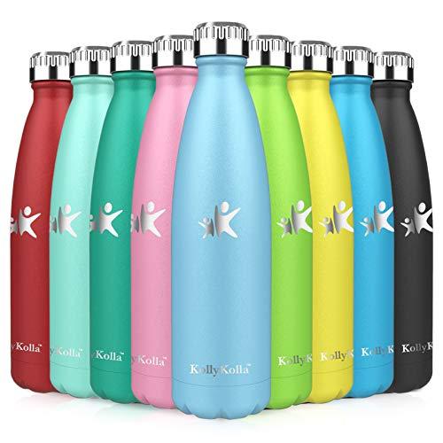 KollyKolla Botella de Agua Acero Inoxidable, Termo Sin BPA Ecológica, Botellas Termica Reutilizable Frascos Térmicos para Niños & Adultos, Deporte, Oficina, Yoga, Ciclismo, (750ml Azul Zafiro)