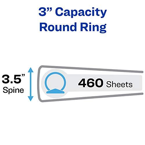 "Avery 3"" Economy View 3 Ring Binder, Round Ring, Holds 8.5"" x 11"" Paper, 4 White Binders (3360) Photo #8"