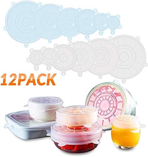 Dyroe Tapas de Silicona Elásticas, 12 Tapas Silicona Ajustables Cocina,Sin BPA,Reutilizable Fundas para Alimentos Tapa Tazas