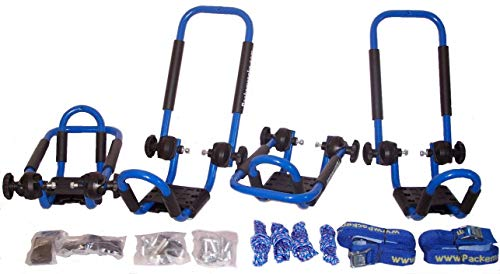 Folding J-Style Kayak Rack Roof Top Rack - 2 Sets -in Many Fun Colors (Bright Blue)