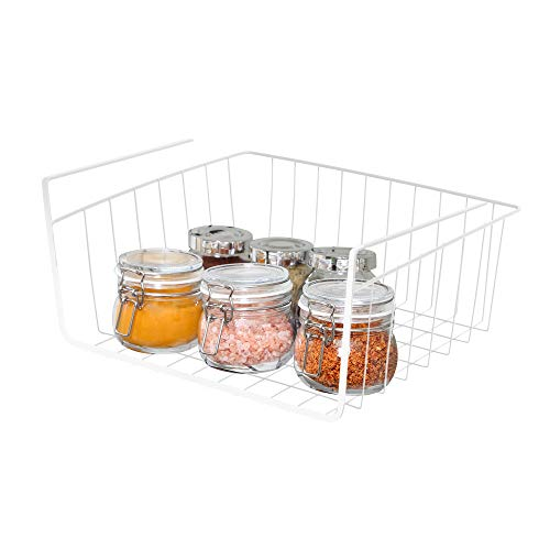 Smart Design Undershelf Storage Basket - Small - Snug Fit Arms - Steel Metal Wire - Rust Resistant Finish - Cabinet, Pantry, Shelf Organization - Kitchen (12 x 5.5 Inch) [White]