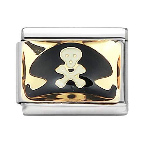 AKKi jewelry Italian Charms Armband Classic glieder Italy Charm,Silber Gold Edelstahl Links Kult modele Blume Tiere Herz für Piraten Hut